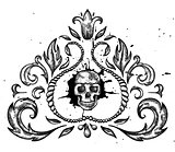 Hand drawn design element with skull and leaves