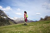 side walking on prairie at Picos de Europa