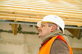 Construction manager near new building