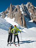 skiers in front of the breathtaking view of Mont Blanc de Tacul