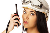 Woman with cb radio, portrait.