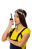 Woman hold cb radio.