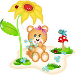 Teddy bear picking flowers