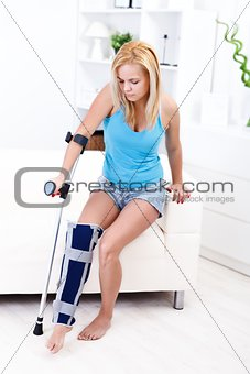 Girl with leg injury
