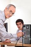 Man setting up computer