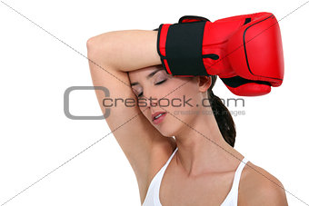 Exhausted female boxer