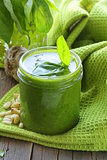 Italian pesto sauce with pine nuts and basil
