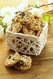 Crispy cookies with sunflower seeds and raisins