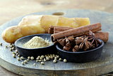 cinnamon, anise, ground ginger and fresh on a wooden board