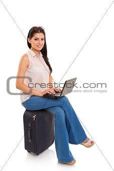 Beautiful traveling businesswoman