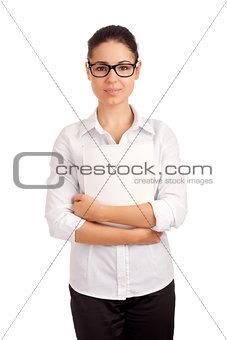 Smiling business woman holding magazine