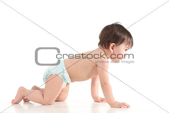Baby crawling and watching front