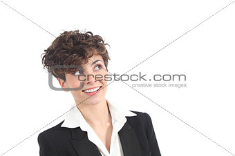 Beautiful businesswoman smiling with her eyes looking above