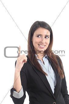 Beautiful businesswoman pointing and watching above