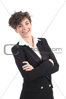 Beautiful and modern businesswoman smiling