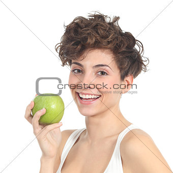Beautiful woman holding an apple