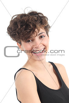 Beautiful modern woman laughing