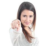 Beautiful woman pointing at the camera