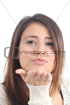 Beautiful woman sending a kiss