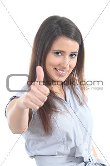 Beautiful woman with thumb up