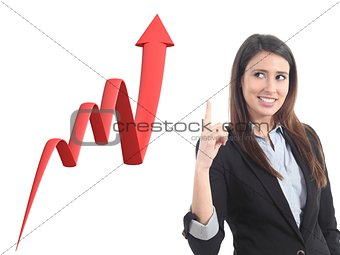 Businesswoman and a 3d render of a growth graph
