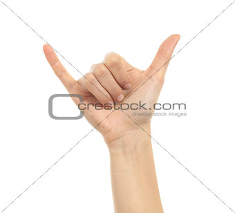 Shaka or calling hand sign