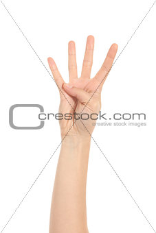 Woman hand showing four fingers