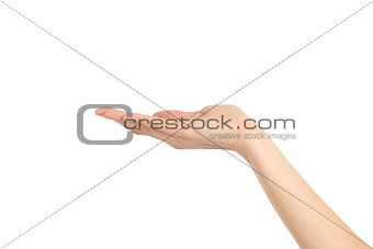 Woman hand in holding gesture
