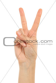 Woman hand in victory sign