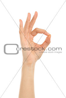 Woman hand in ok