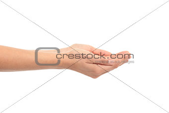 Woman cupped hands