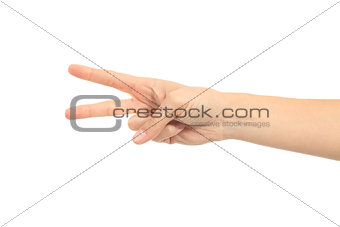 woman hand in scissors gesture