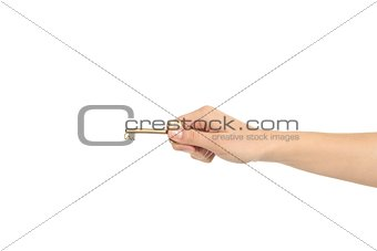 Beautiful woman hand with an old key