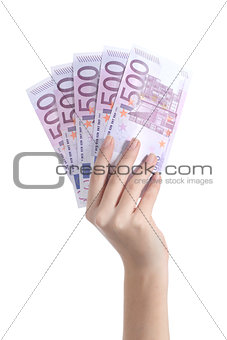 Woman hand holding five hundred euro banknotes