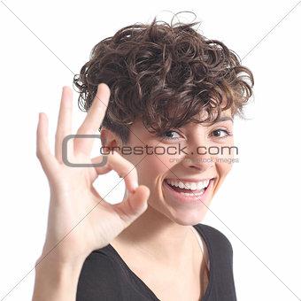 Beautiful woman making ok gesture