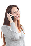 Happy redhead woman talking on mobile phone