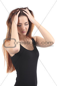 Beautiful girl worried with both hands on the head