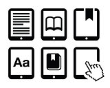 E-book reader, e-reader vector icons set