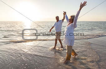 Happy Senior Couple Holding Hands Sunset Sunrise Beach