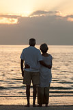 Senior Couple Embracing Sunset Tropical Beach