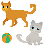 Two cats and a ball vector