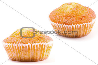 cake in paper basket on a white background