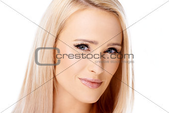 Close up portrait of young blond woman