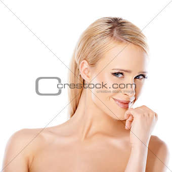 Caucasian woman with sedictive smile