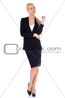 Blond smiling businesswoman standing isolated on white