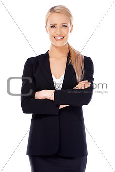 Smiling blond business woman on white