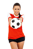 Happy girl with soccer ball