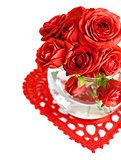 red roses with green leaf in a vase
