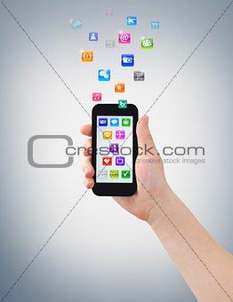 Smartphone, hand & icons