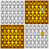 Golden brown and grey silver eggs vector illustration 